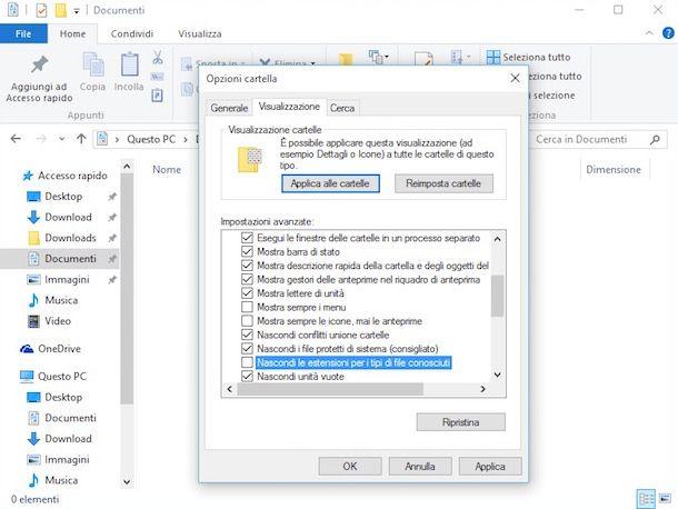 Come visualizzare estensione file