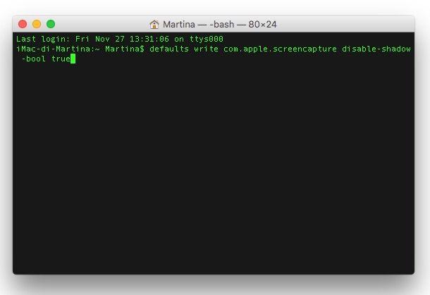 Screenshot che mostra come fare foto schermo Mac