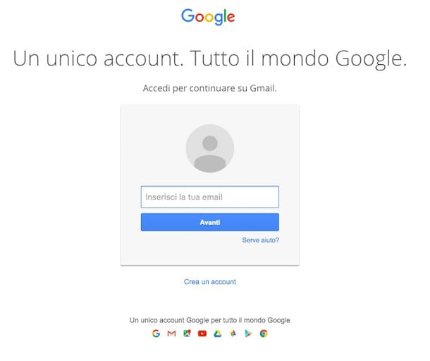 Screenshot account Google