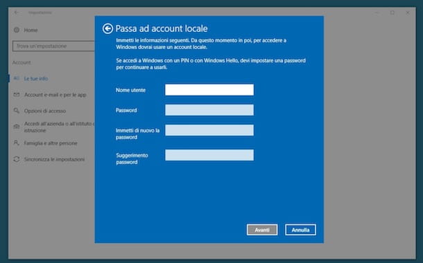Come cambiare account Microsoft