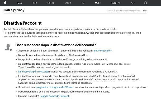 Disattiva ID Apple