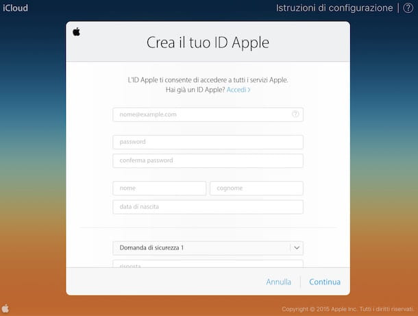Come creare account iCloud