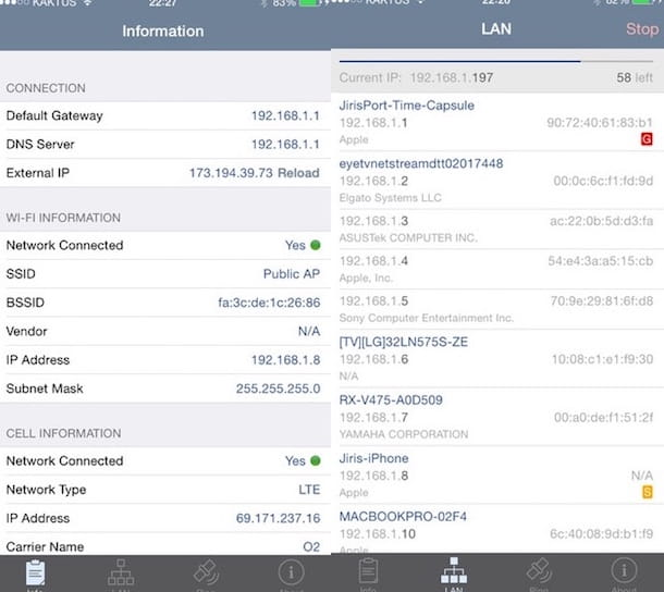Screenshot dell'app Network Analyzer Lite