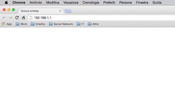 Screenshot che mostra come accedere al modem Fastweb