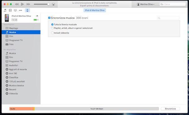 Screenshot di iTunes con iPod