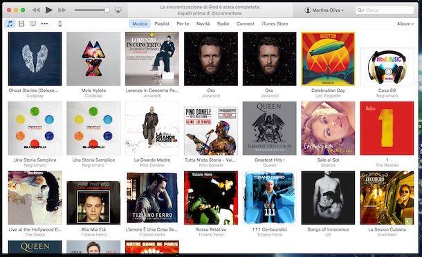 Screenshot della sezione Musica di iTunes