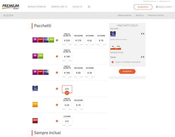 Screenshot del sito Internet di Mediaset Premium