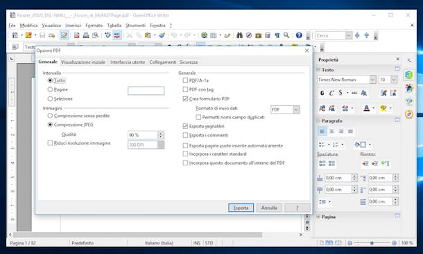 Screenshot di OpenOffice su Windows