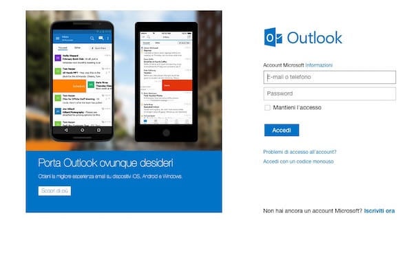 Screenshot di Outlook.com