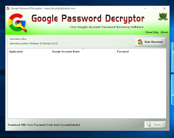 Screenshot di Google Password Decrypter