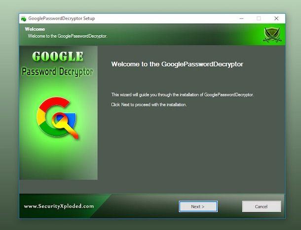Screenshot di Google Password Decrypter
