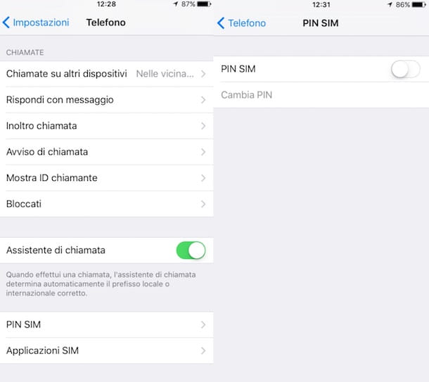 Screenshot che mostra come sbloccare la SIM su iPhone
