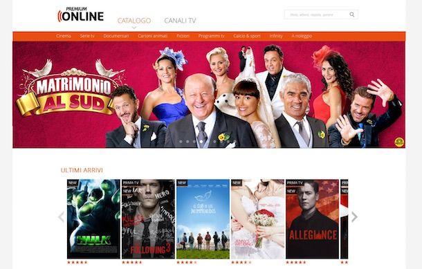 Screenshot del sito Internet Mediaset Premium