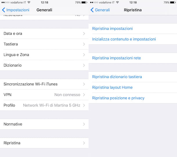 Come resettare iPhone 6