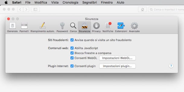 Screenshot di Safari