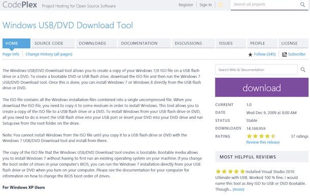 Screenshot del sito di Windows 7 USB/DVD Download tool