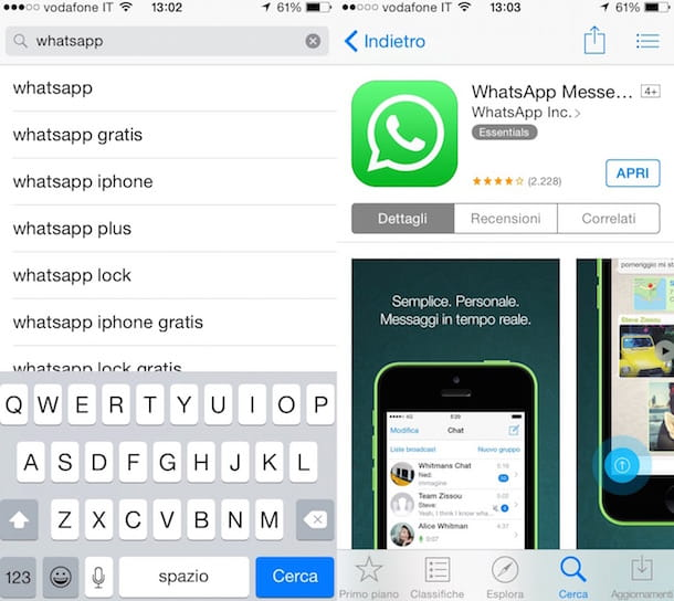 Screenshot di WhatsApp su iPhone