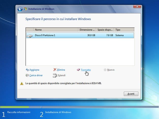 Screenshot della procedura di installazione di Windows 7