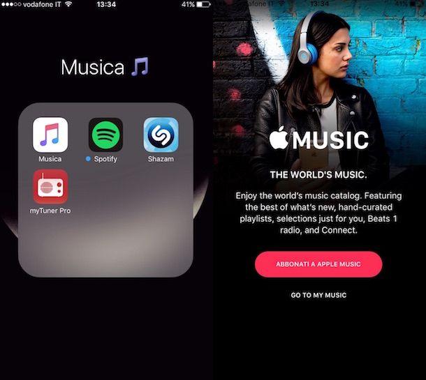 Screenshot dell'app Musica su iPhone
