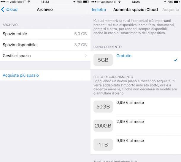 Screenshot dell impostazioni di iOS