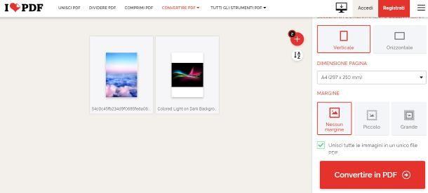 Come unire foto in PDF