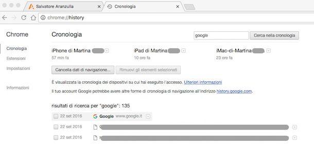 Come vedere cronologia Google