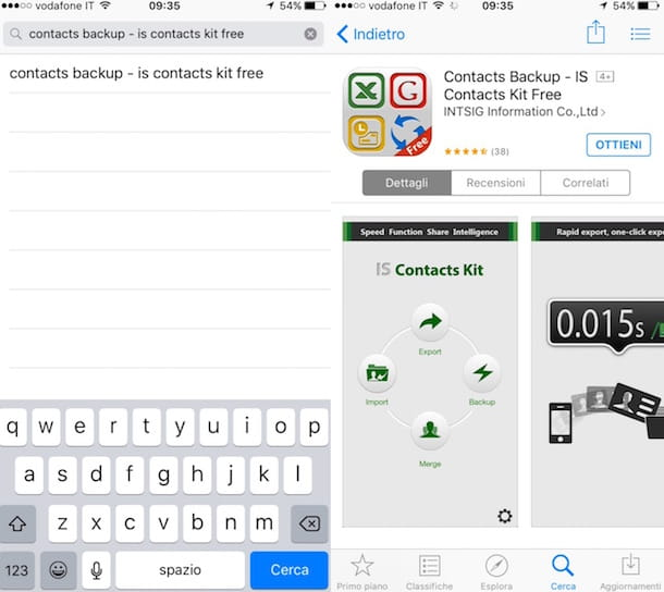 Copiare contatti da iPhone a SIM con Contacts Backup – IS Contacts Kit Free
