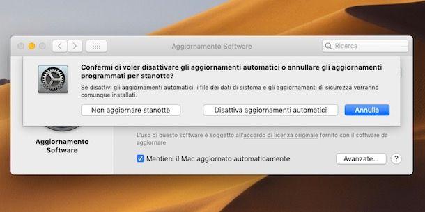 Come disattivare aggiornamenti automatici