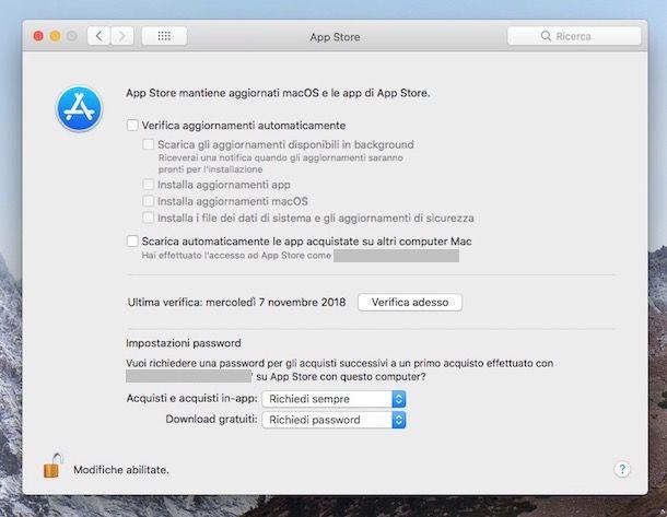 Impostazioni aggiornamenti macOS High Sierra