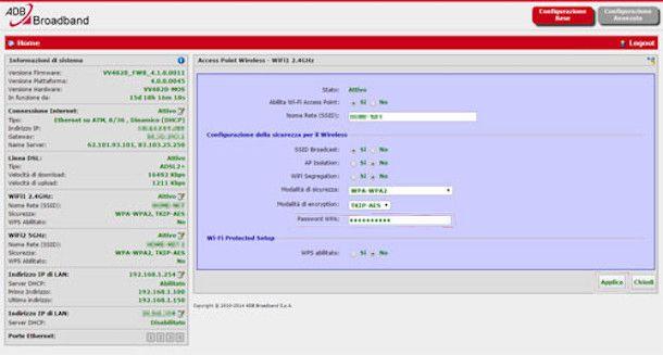 Pannello di amministrazione modem Fibra TOP di Fastweb