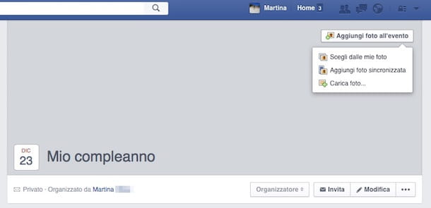 Screenshot creazione evento Facebook