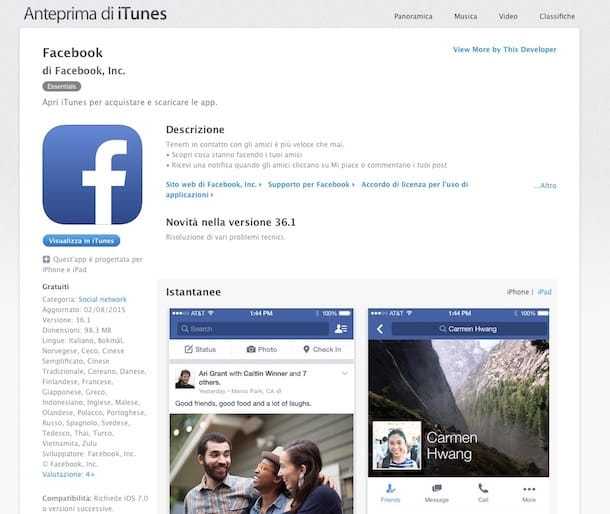 Screenshot app Facebook