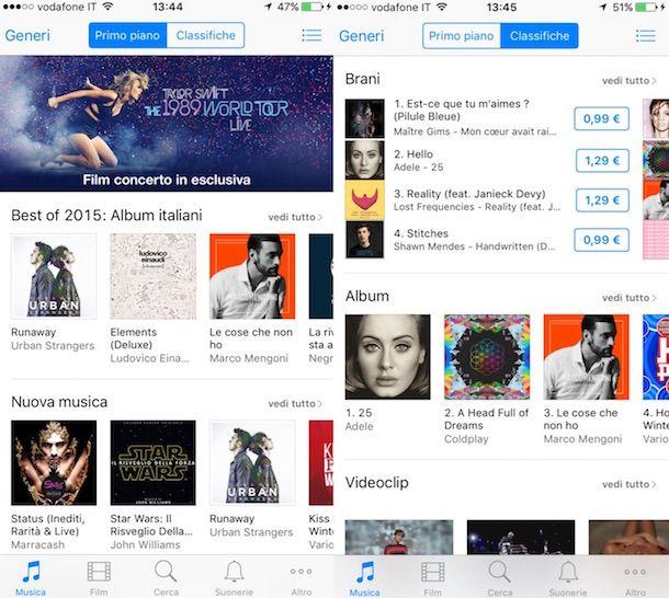Screenshot di iTunes su iPhone