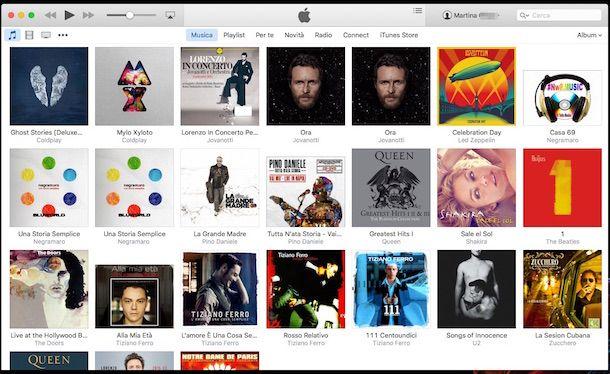 Screenshot di iTunes