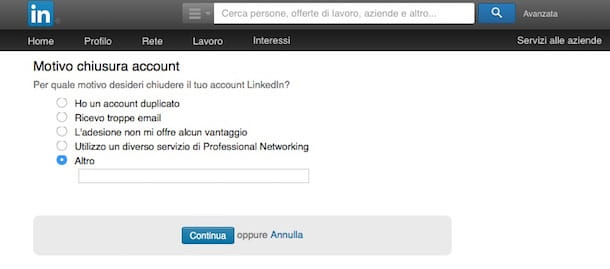 Screenshot di LinkedIn