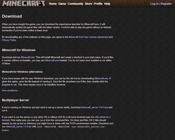 Screenshot di Minecraft su Windows