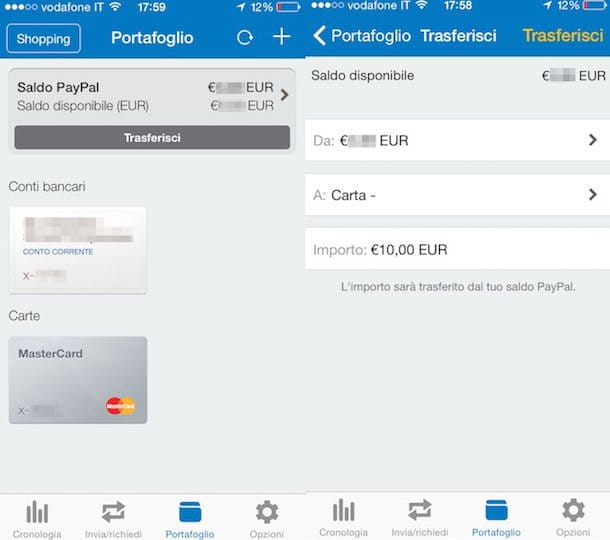 Screenshot dell'app PayPal