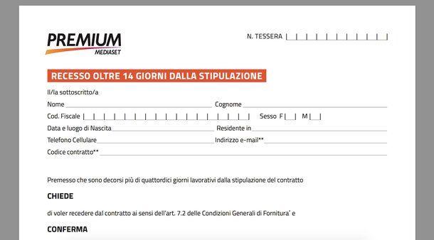 Screenshot del modulo di disdetta di Mediaset Premium