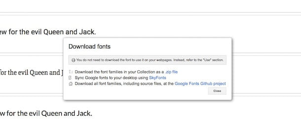 Screenshot di Google Fonts