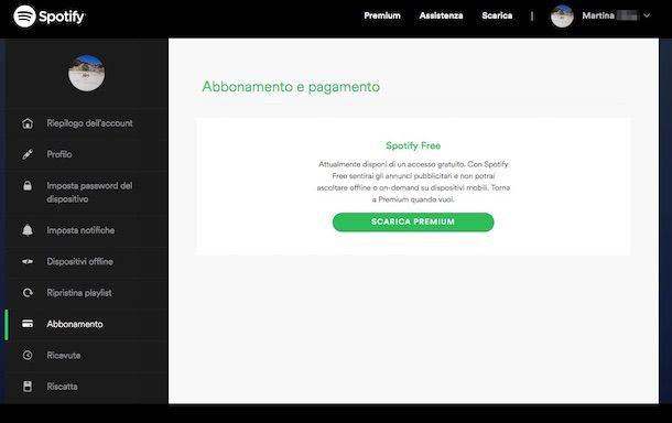 Screenshot di Spotify