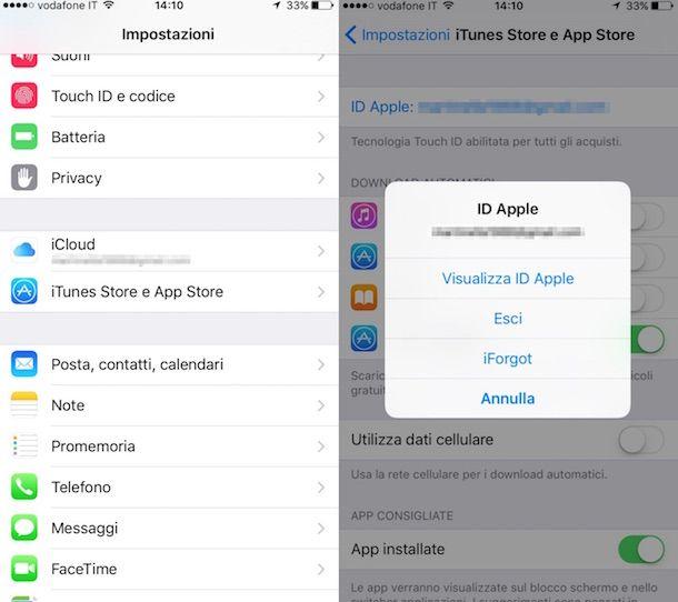 Screenshot della sezione Impostazioni di iOS