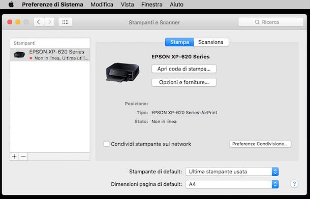 Screenshot stampante Mac
