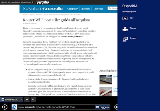Screnshot che mostra come stampare WiFi da Windows 8