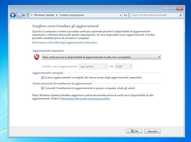 Screenshot aggiornamenti Windows