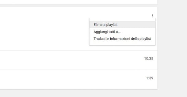 Screenshot di YouTube playlist