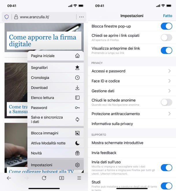 Blocco popup Firefox mobile