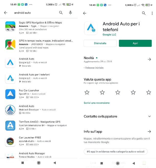 Aggiornamento Android Auto