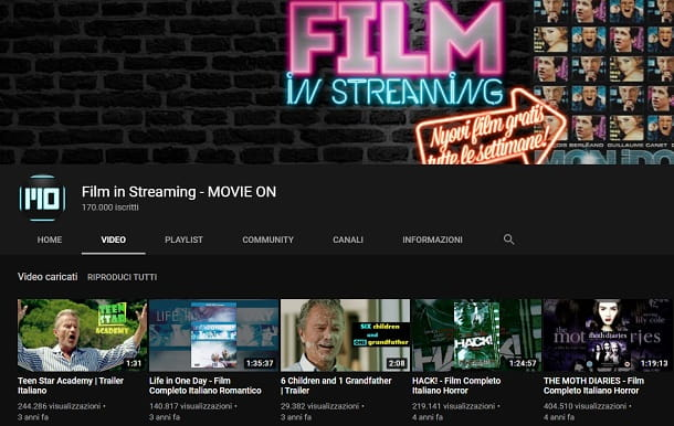 Film in streaming Movie On YouTube