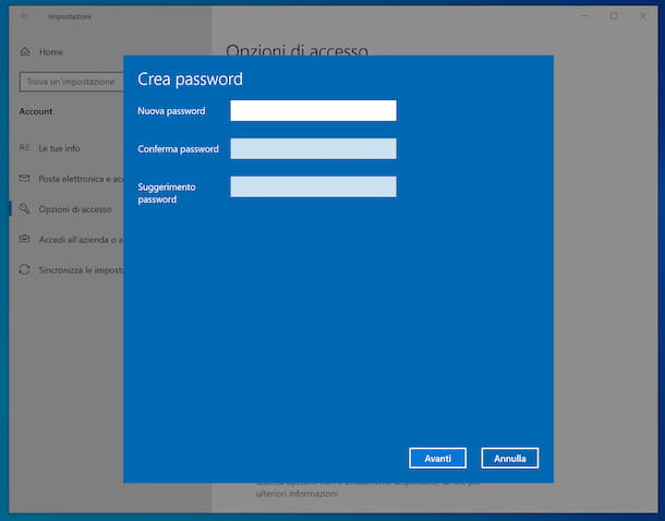 Impostare password account locale Windows 10