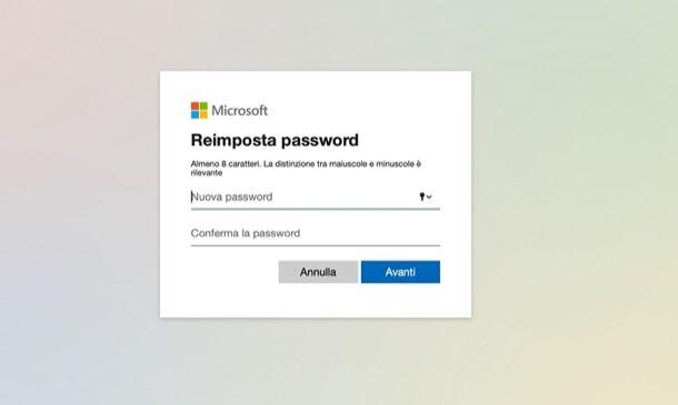 Reimpostare password Outlook